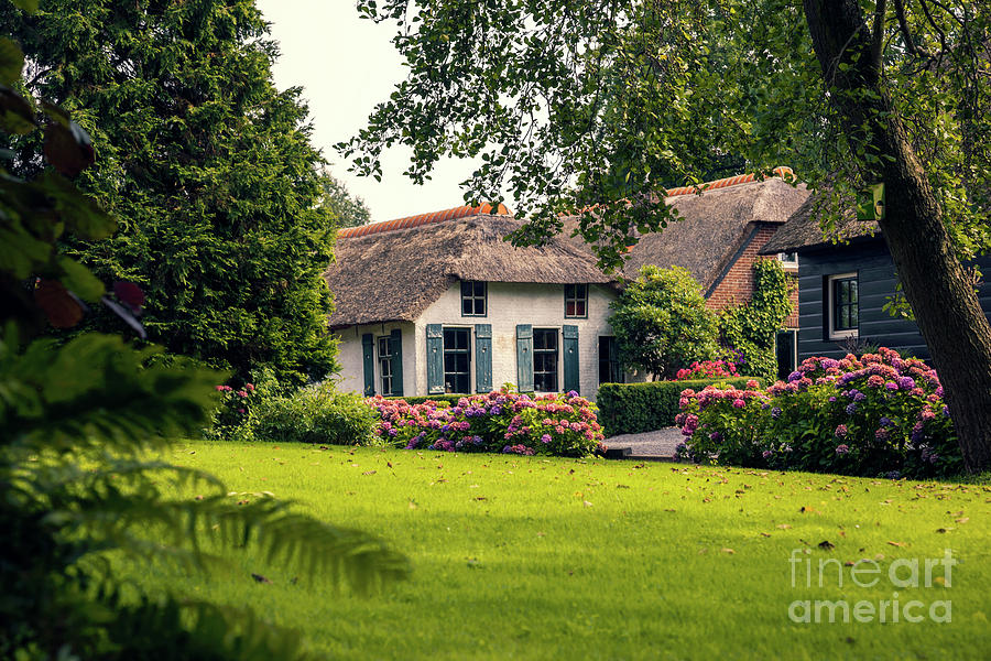 Architecture Photograph - typical dutch county side of houses and gardens, Giethoorn by Ariadna De Raadt