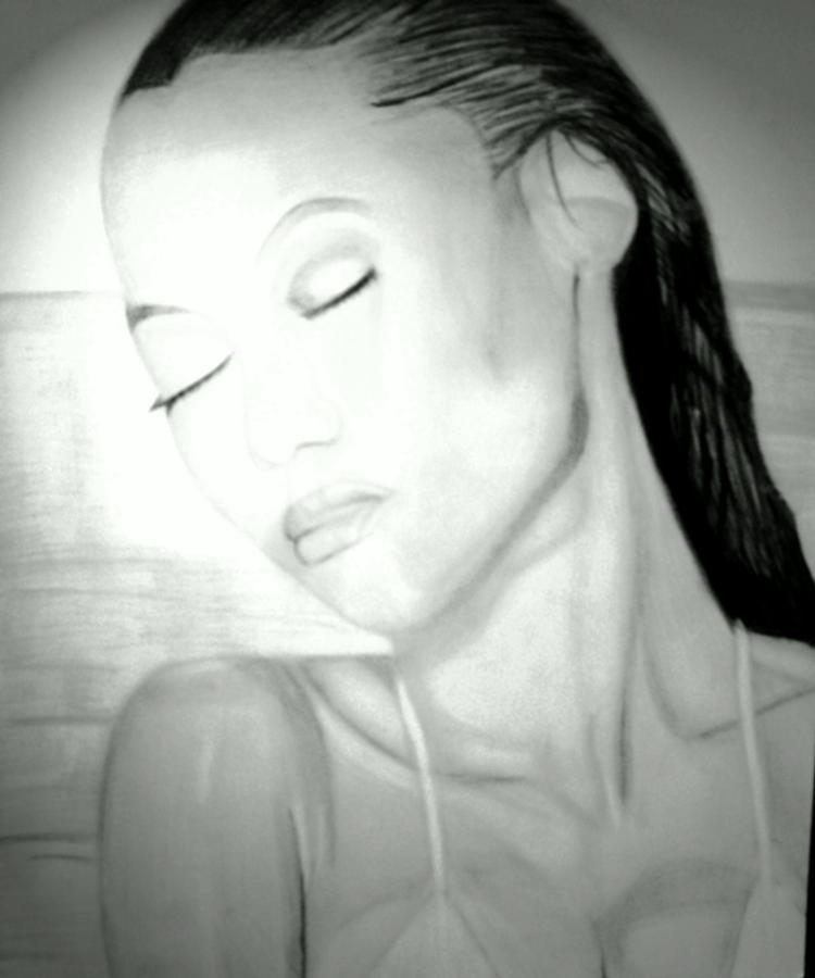 Tyra Drawing by Jetone Shumake
