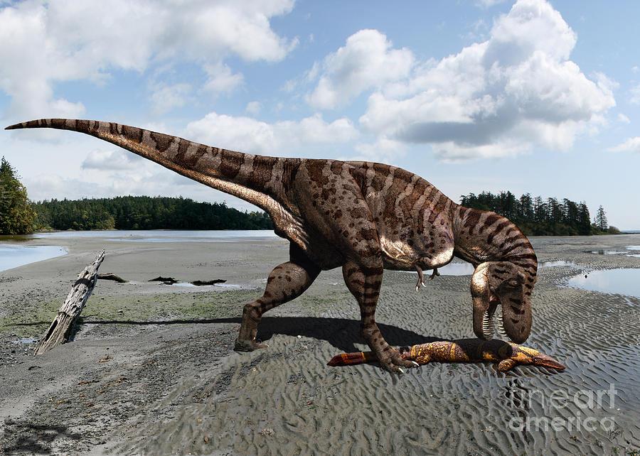 Dinosaur Digital Art - Tyrannosaurus Enjoying Seafood by Julius Csotonyi