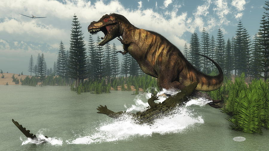 Tyrannosaurus Rex Dinosaur Attacked By Deinosuchus Crocodile 3d Render Digital Art By Elenarts Elena Duvernay Digital Art