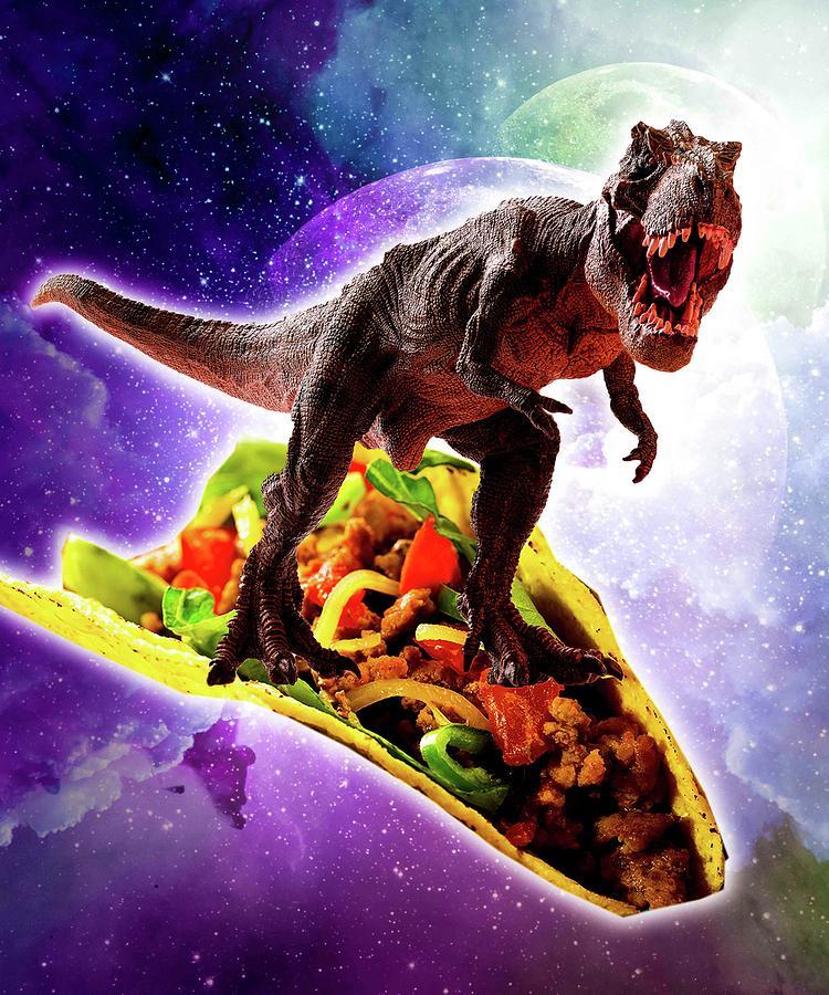Tyrannosaurus Rex Digital Art - Tyrannosaurus Rex Dinosaur Riding Taco In Space by Random Galaxy