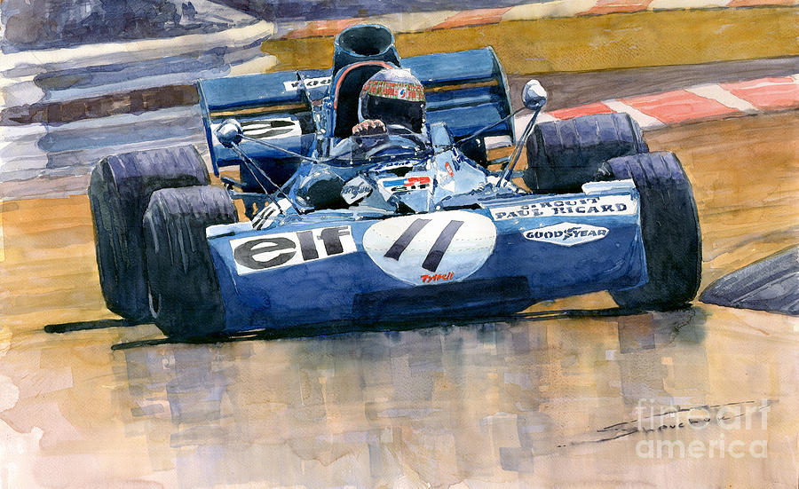 Watercolor Painting - Tyrrell Ford 003 Jackie Stewart 1971 French GP by Yuriy Shevchuk