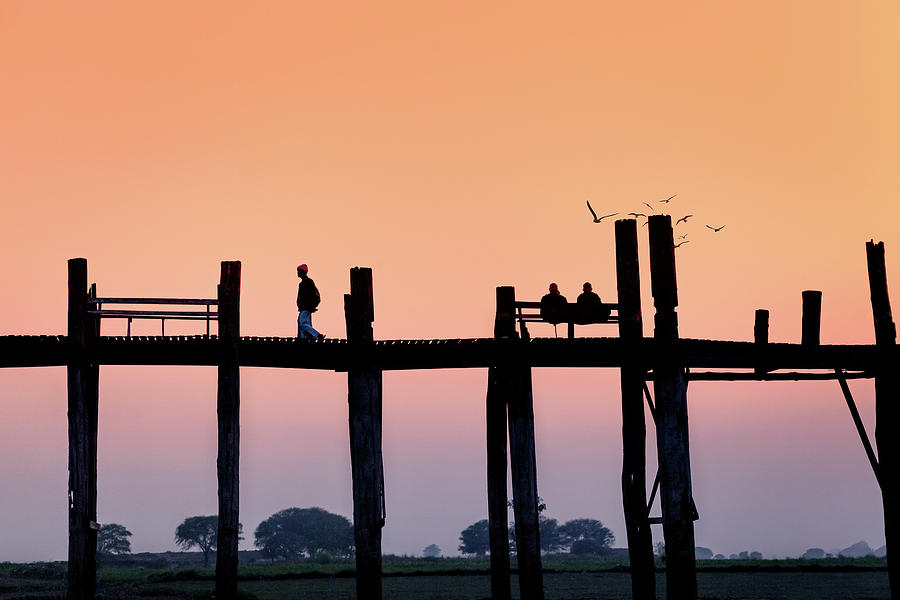 Monks Photograph - U-bein Bridge At Dawn by Marji Lang