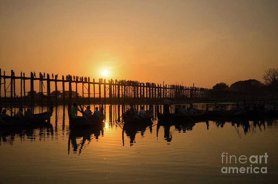 Burma Photograph - U Bein Bridge At Sunset by Louise Poggianti