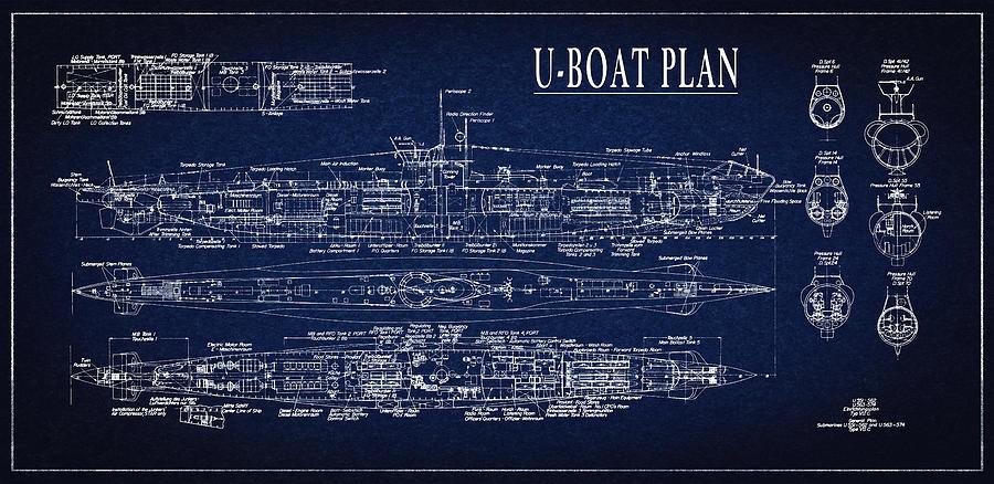 U boat submarine plan digital art by daniel hagerman blueprint digital art u boat submarine plan by daniel hagerman malvernweather Choice Image