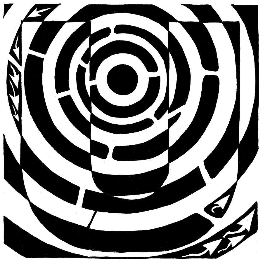 Mazes Drawing - U-maze by Yonatan Frimer Maze Artist
