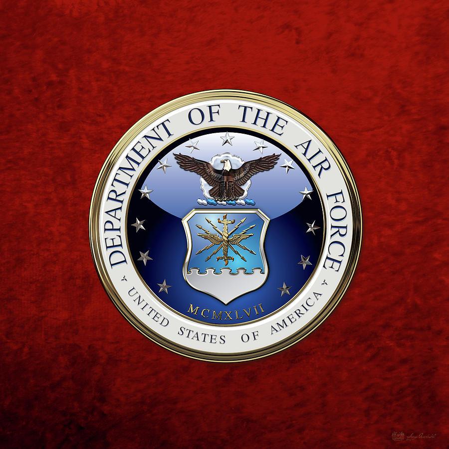 Military Digital Art - U. S.  Air Force  -  U S A F Emblem Over Red Velvet by Serge Averbukh