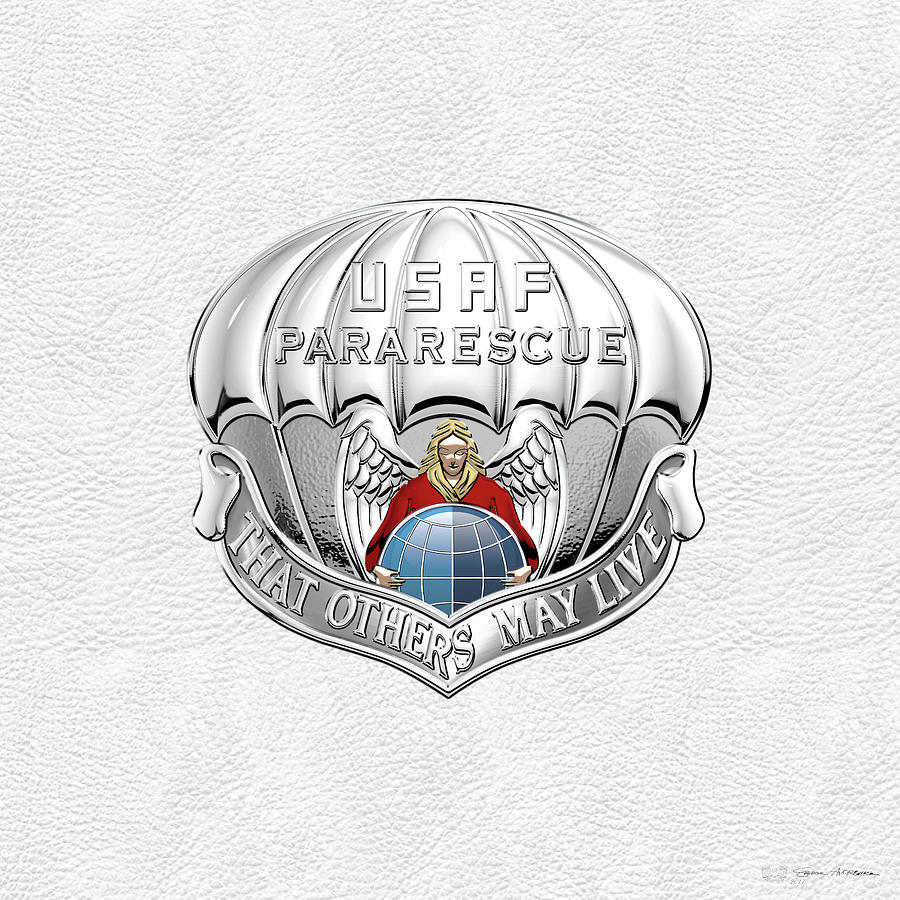 Military Digital Art - U. S.  Air Force Pararescuemen - P J Badge Over White Leather by Serge Averbukh
