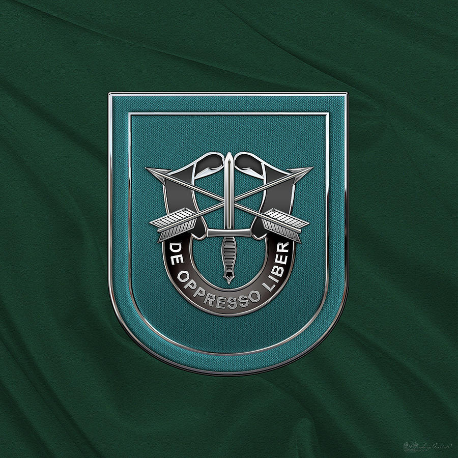 Military Digital Art - U. S.  Army 19th Special Forces Group - 19 S F G  Beret Flash Over Green Beret Felt by Serge Averbukh