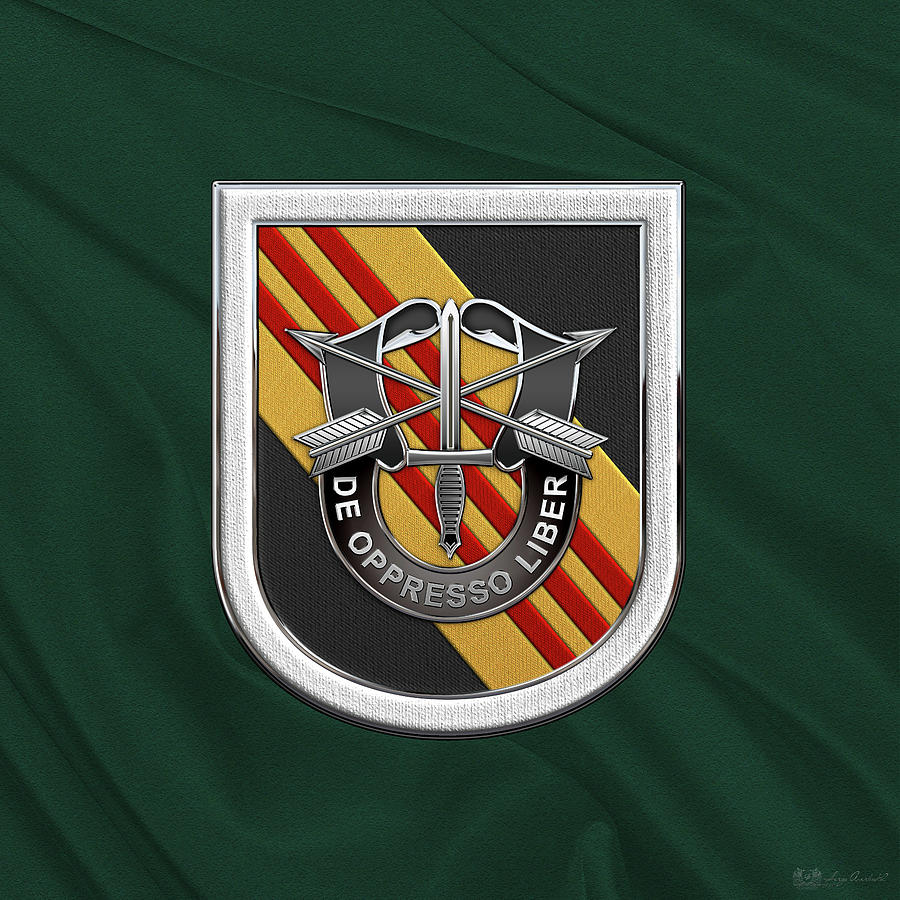 Military Digital Art - U. S.  Army 5th Special Forces Group Vietnam - 5 S F G  Beret Flash Over Green Beret Felt by Serge Averbukh