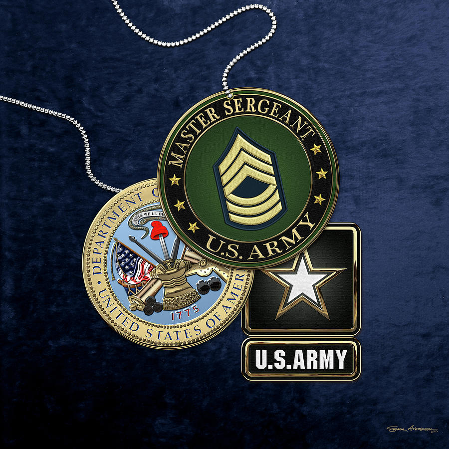 Military Digital Art - U. S. Army Master Sergeant   -  M S G  Rank Insignia With Army Seal And Logo Over Blue Velvet by Serge Averbukh