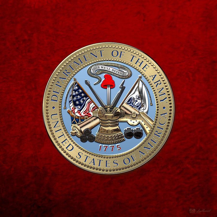 Military Digital Art - U. S. Army Seal Over Red Velvet by Serge Averbukh