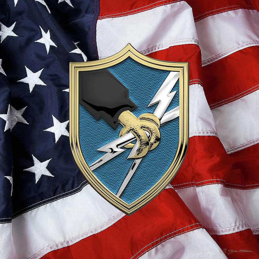 Military Digital Art - U. S. Army Security Agency - A S A Patch Over American Flag by Serge Averbukh