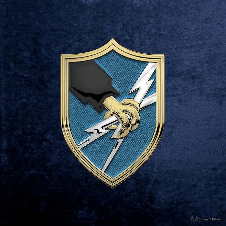 Military Digital Art - U. S. Army Security Agency - A S A Patch Over Blue Velvet by Serge Averbukh