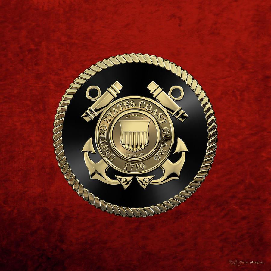 Military Digital Art - U. S.  Coast Guard  -  U S C G Emblem Black Edition Over Red Velvet by Serge Averbukh