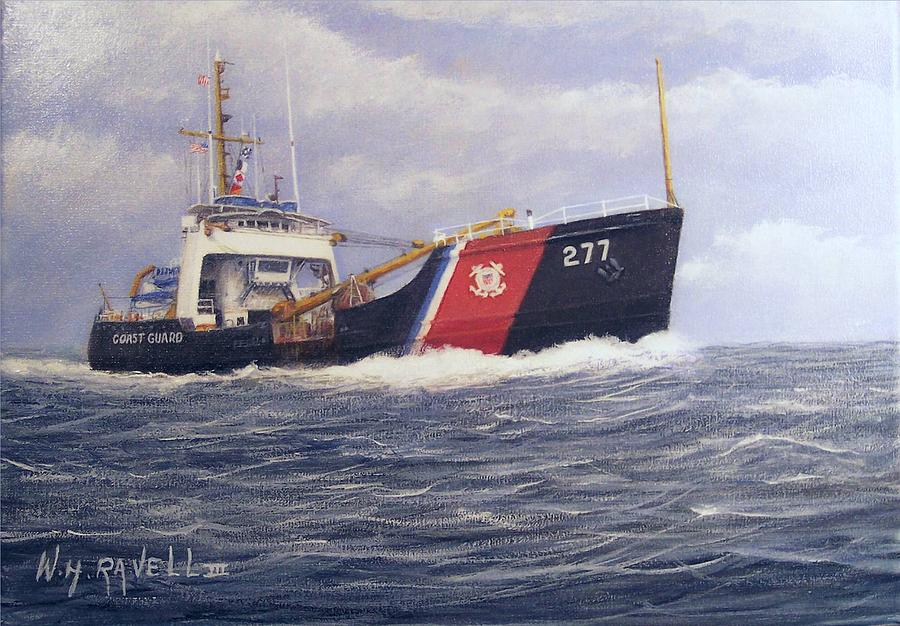 Seascape Painting - U. S. Coast Guard Buoy Tender by William Ravell
