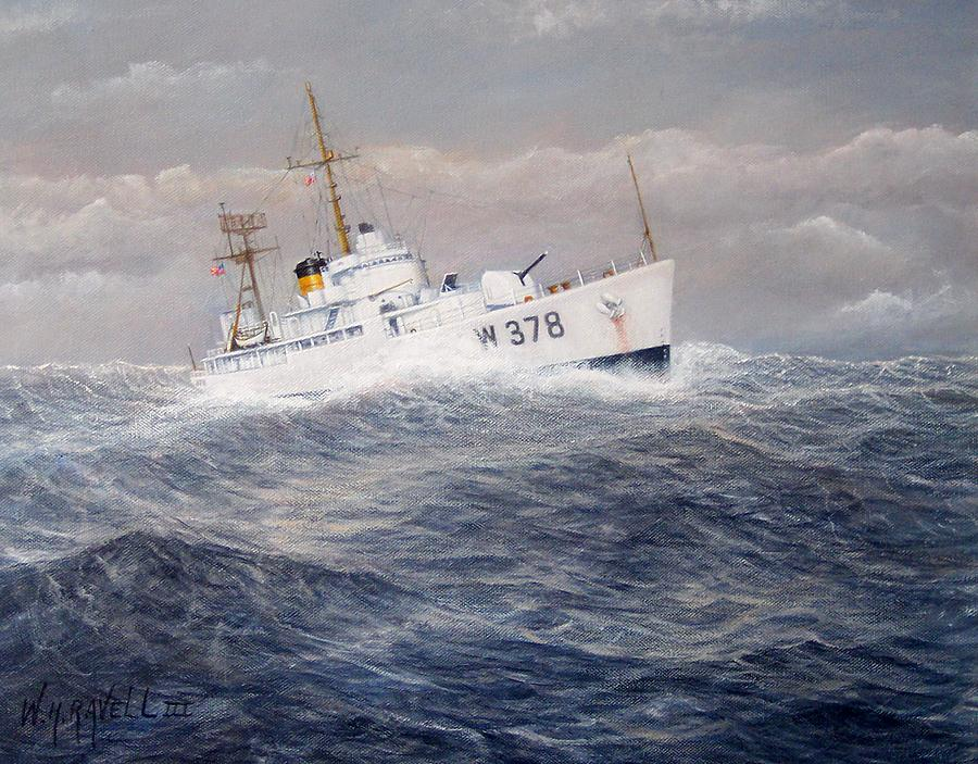 Coast Guard Cutter Painting - U. S. Coast Guard Cutter Halfmoon by William H RaVell III