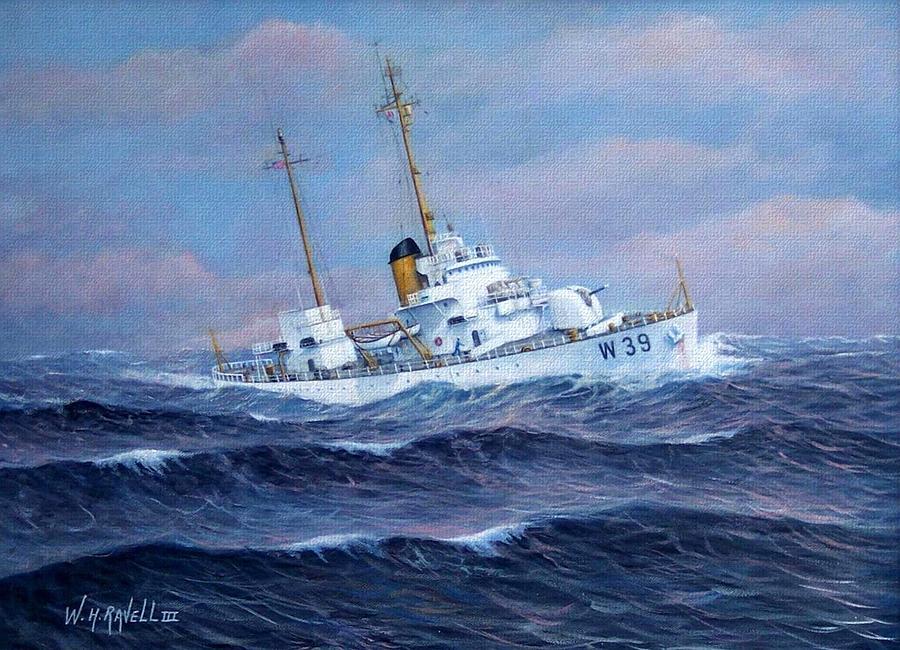 U. S. Coast Guard Painting - U. S. Coast Guard Cutter Owasco by William H RaVell III