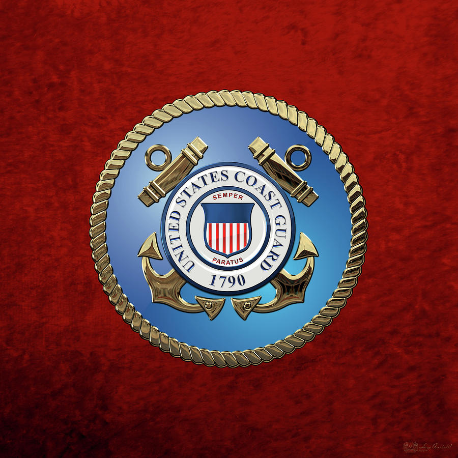 Military Digital Art - U. S. Coast Guard - U S C G Emblem by Serge Averbukh
