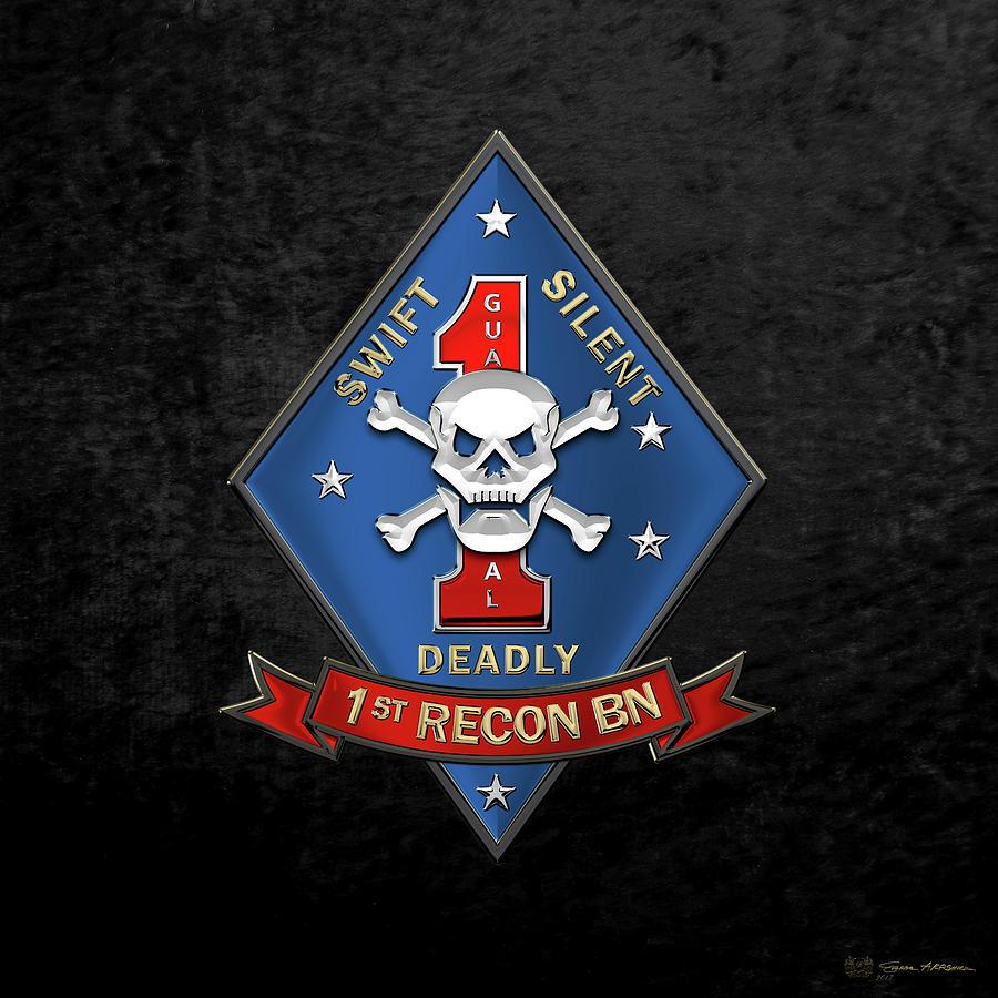 Military Digital Art - U S M C  1st Reconnaissance Battalion -  1st Recon Bn Insignia Over Black Velvet by Serge Averbukh