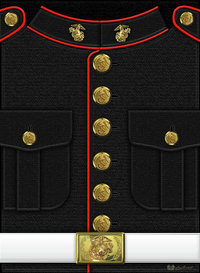 United States Marine Corps Digital Art - U S M C Dress Uniform by Serge Averbukh