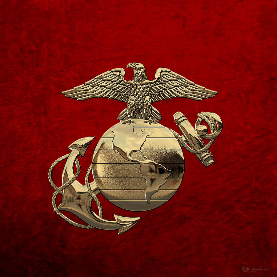 Military Digital Art - U S M C Eagle Globe and Anchor - N C O and Enlisted E G A over Red Velvet by Serge Averbukh