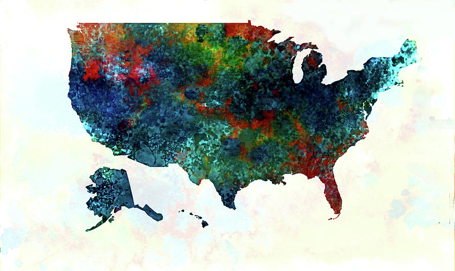 U S Map Color Painting By Enki Art - 3 color us map