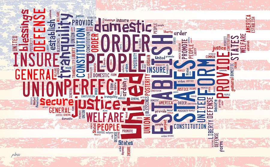 U S Map Preamble Word Cloud Digital Art By Paulette B Wright - Us word map
