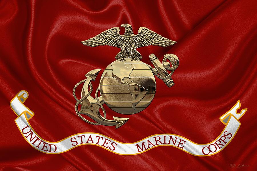 Military Digital Art - U. S. Marine Corps - N C O Eagle Globe And Anchor  Over Corps Flag a4f588a55