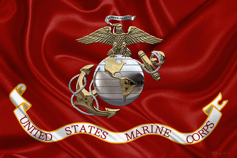 U. S.  Marine Corps - U S M C Eagle Globe and Anchor over Corps Flag by Serge Averbukh