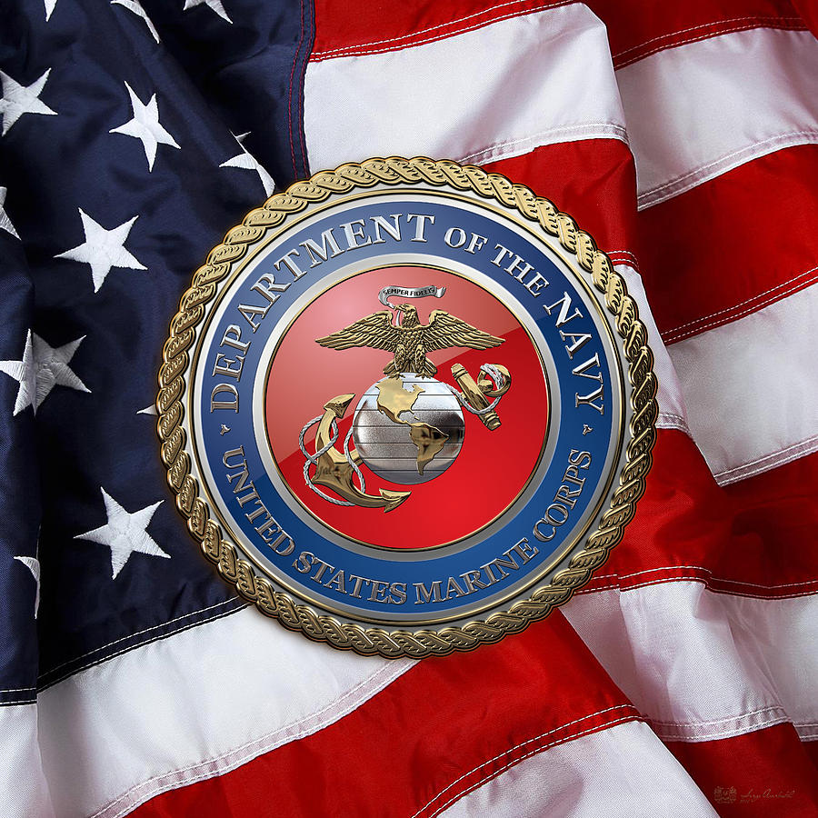 Marine Corps Wallpapers: U S M C Seal Over American Flag
