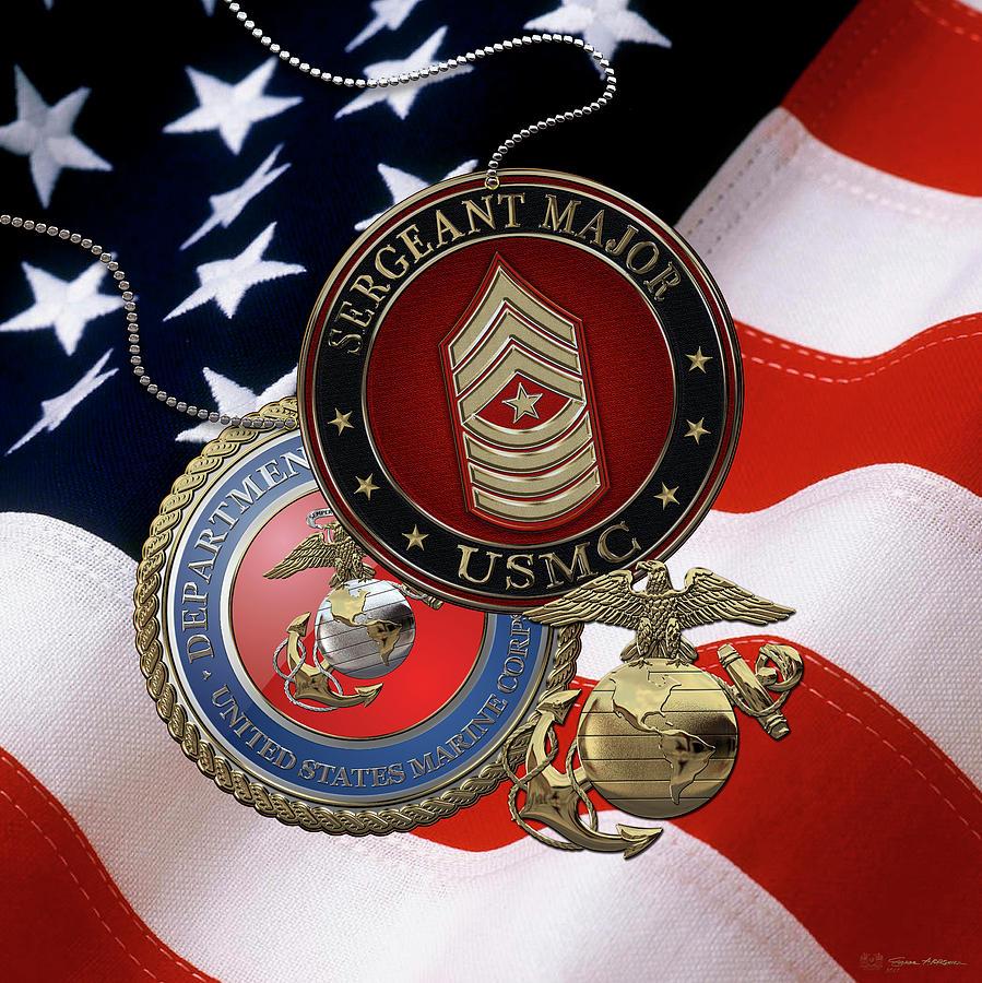 Military Digital Art - U. S. Marines Sergeant Major -  U S M C  Sgt Maj Rank Insignia Over American Flag by Serge Averbukh
