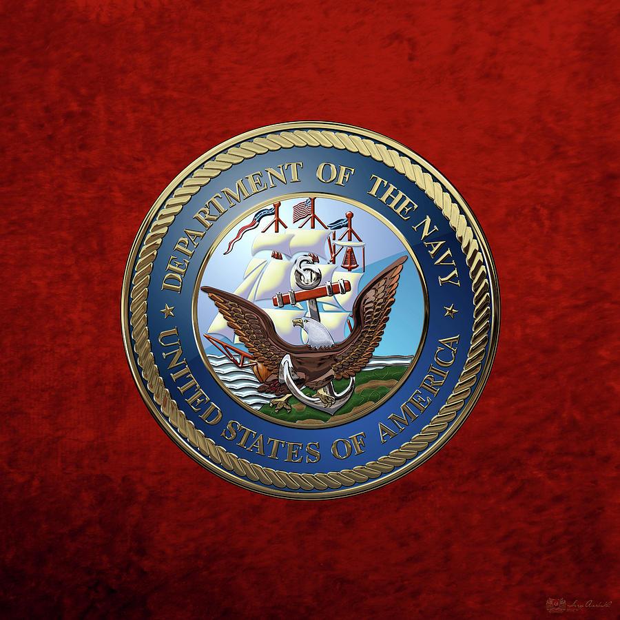 Military Digital Art - U. S.  Navy  -  U S N Emblem Over Red Velvet by Serge Averbukh