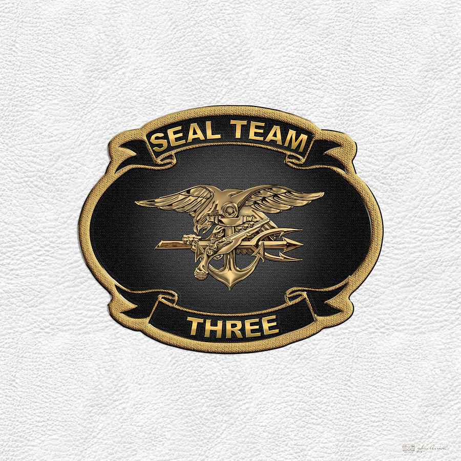 U  S  Navy S E A Ls - S E A L Team 3 - S T 3 Patch Over White Leather
