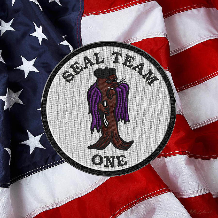 U  S  Navy S E A Ls - S E A L Team One - S T 1 Patch Over U s  Flag by  Serge Averbukh