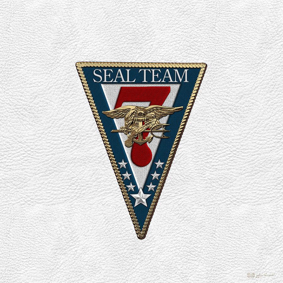 U  S  Navy S E A Ls - S E A L Team Seven - S T 7 Patch Over White Leather  by Serge Averbukh