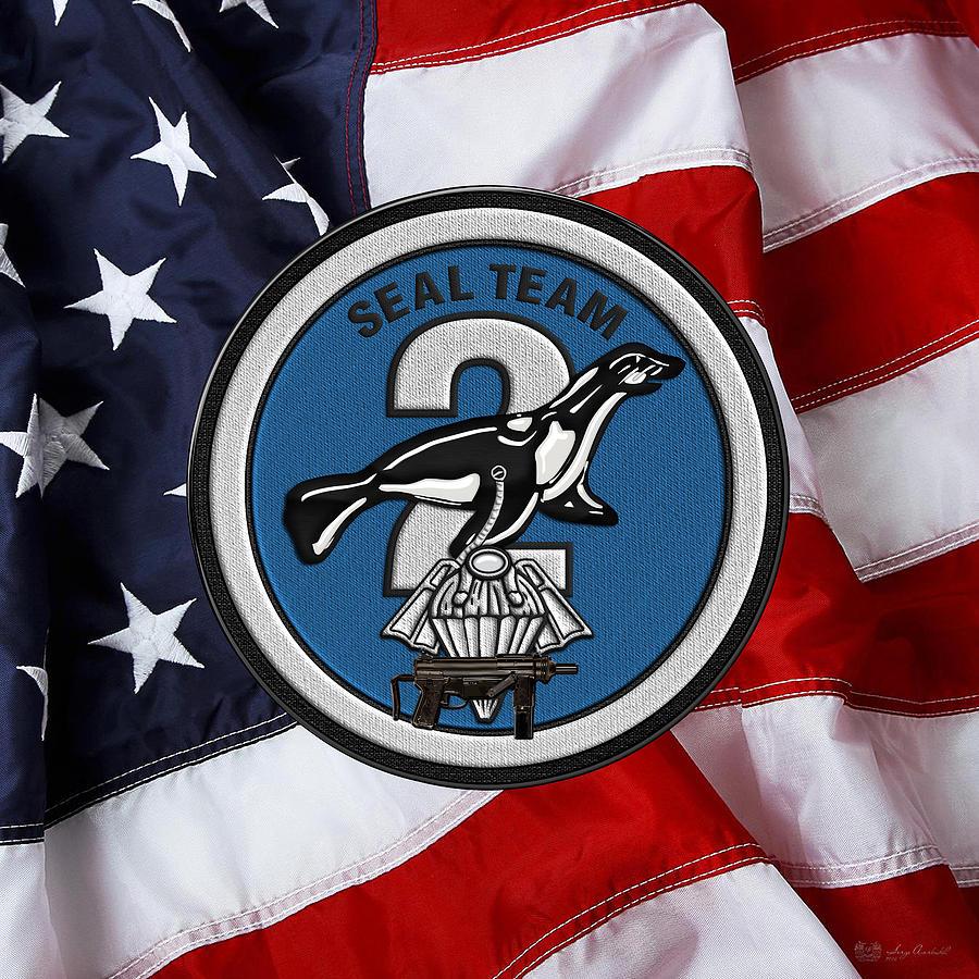 U  S  Navy S E A Ls - S E A L Team Two - S T 2 Patch Over U  S  Flag by  Serge Averbukh