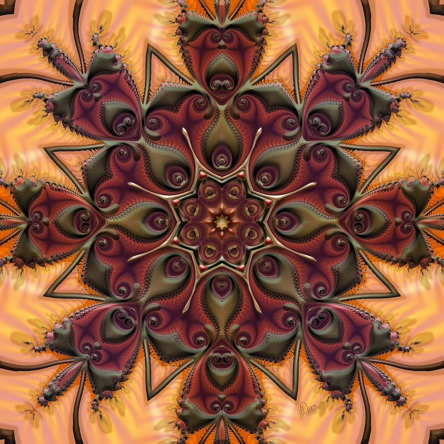 Fractal Digital Art - u046-b Quartetweaks Of An 8-Petaled Mandalwork 2 by Drasko Regul