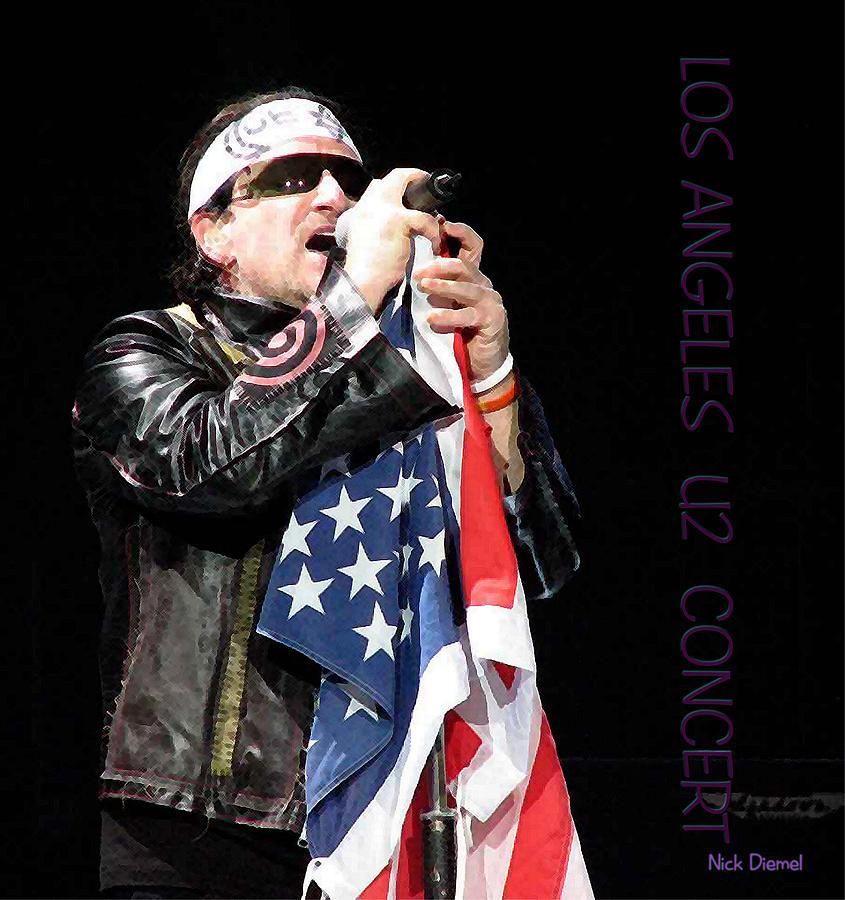 Bono Painting - U2 Bono L.a. Concert by Nick Diemel
