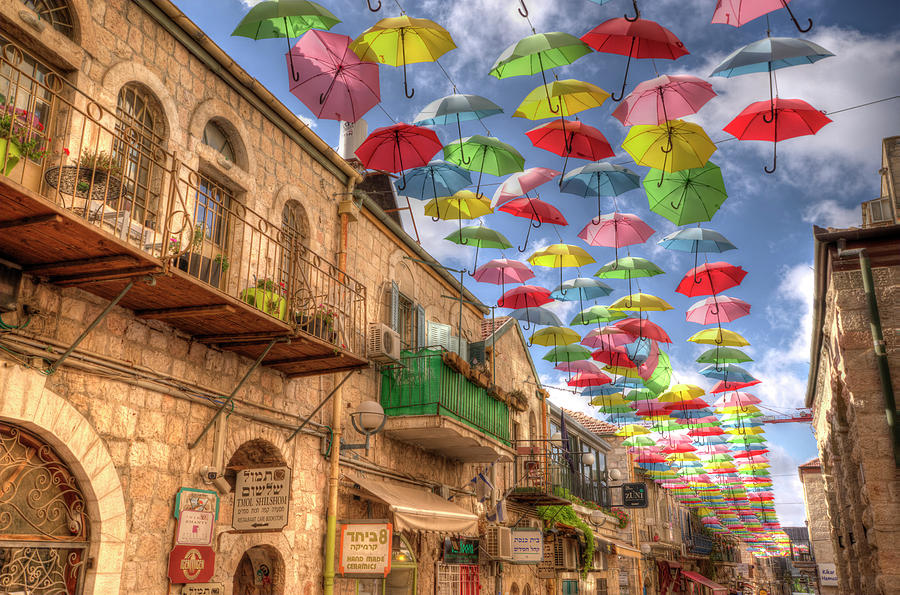 Umbrellas Over Jerusalem by Uri Baruch