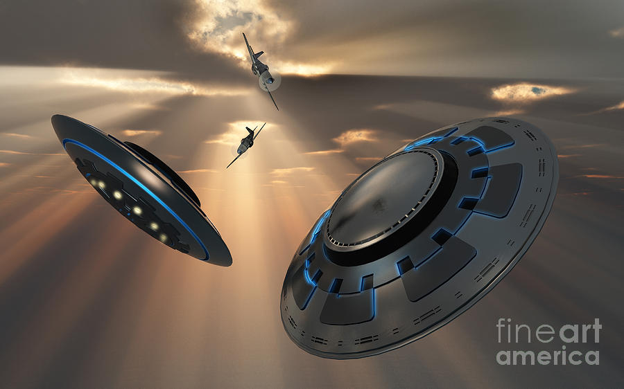 Digitally Generated Image Digital Art - Ufos And Fighter Planes In The Skies by Mark Stevenson