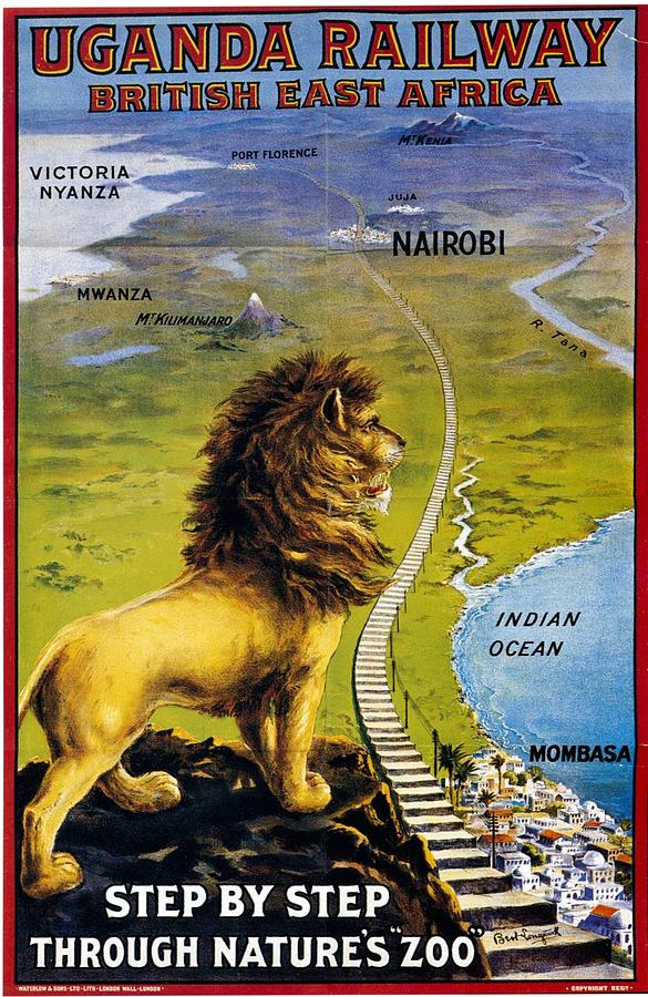 Uganda Railway - British East Africa - Retro Travel Poster - Vintage Poster Mixed Media