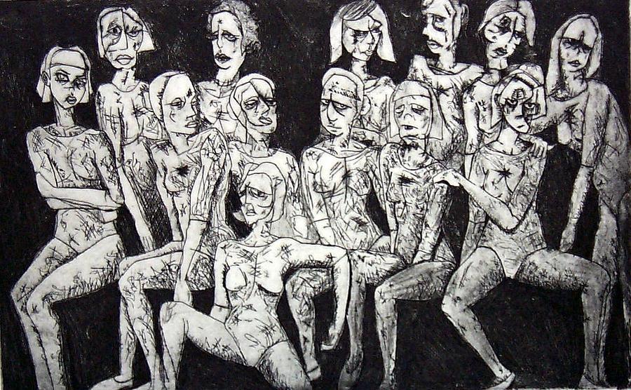 Etching Print - Ugly Girls by Thomas Valentine