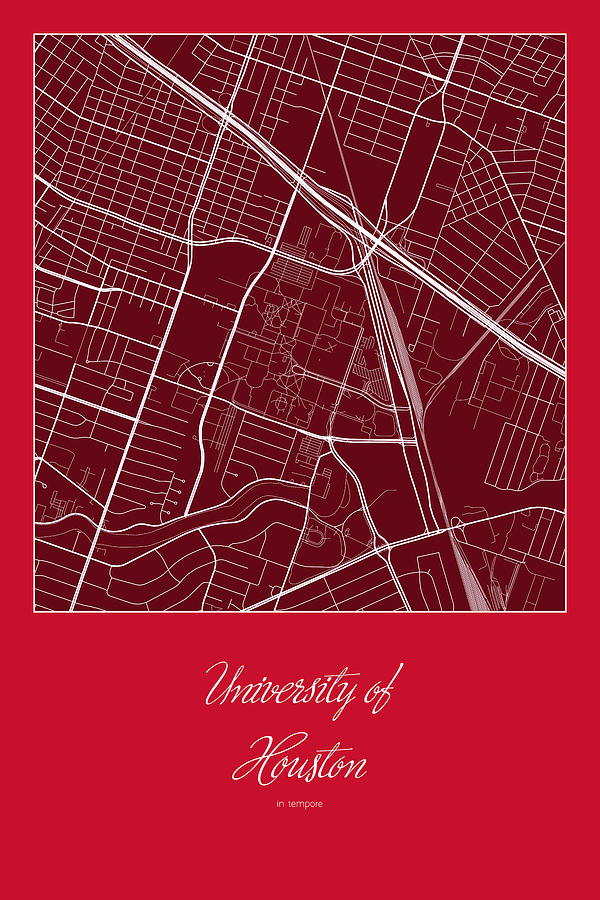 Uh Street Map University Of Houston In Houston Map Digital Art By