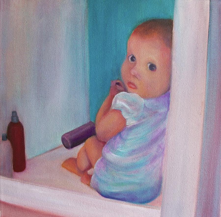Baby Oil Painting Painting - Uhoh by Dana Redfern