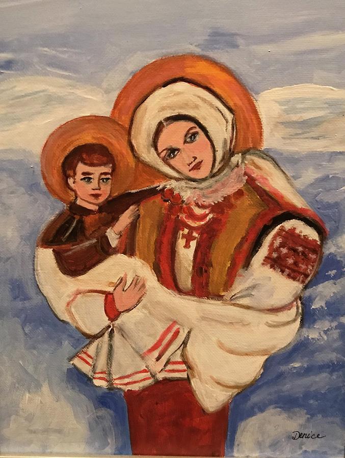 Ukrainian Painting - Ukrainian Madonna And Child by Denice Palanuk Wilson