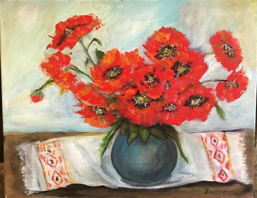 Red Poppies Mixed Media - Ukrainian Poppies by Denice Palanuk Wilson