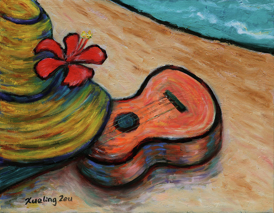 Ukulele and Hibiscus Flower on  a Hawaii Beach by Xueling Zou