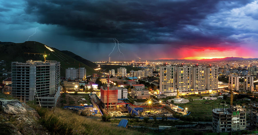 Ulaanbaatar Sunset Thunderstorm by Geoffrey Lewis