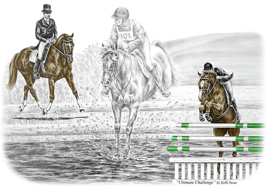 Event Drawing - Ultimate Challenge - Horse Eventing Print Color Tinted by Kelli Swan